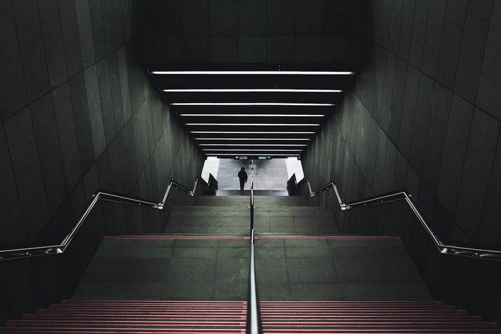 Stairs that leads to subway or metro