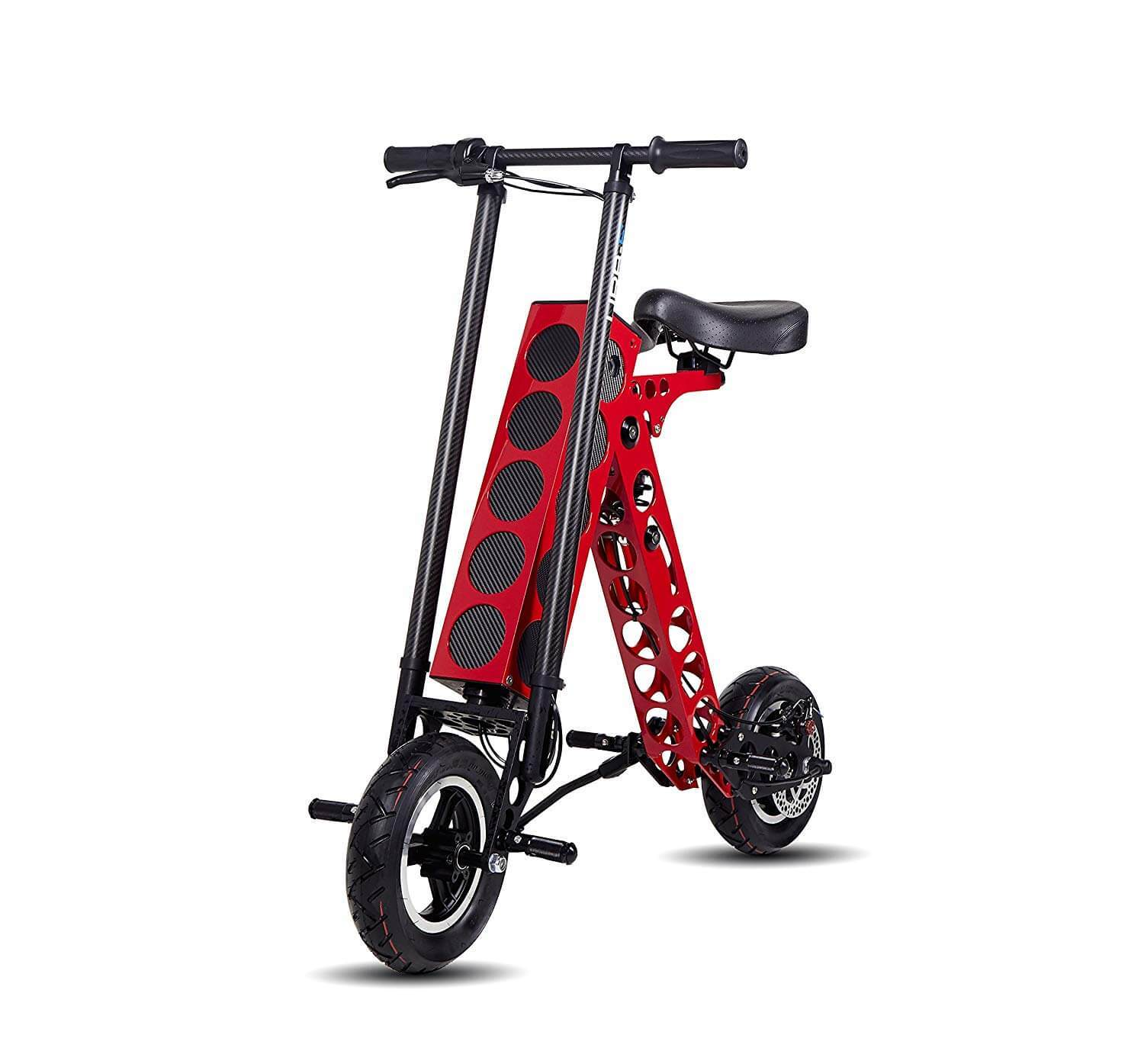 This is URB-E e scooter in red color with seat and suspension.