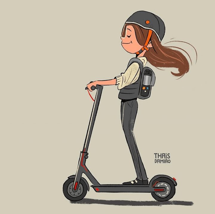 A drawing of a girl on electric scooter. Instagram: thaisdamiao photo credit