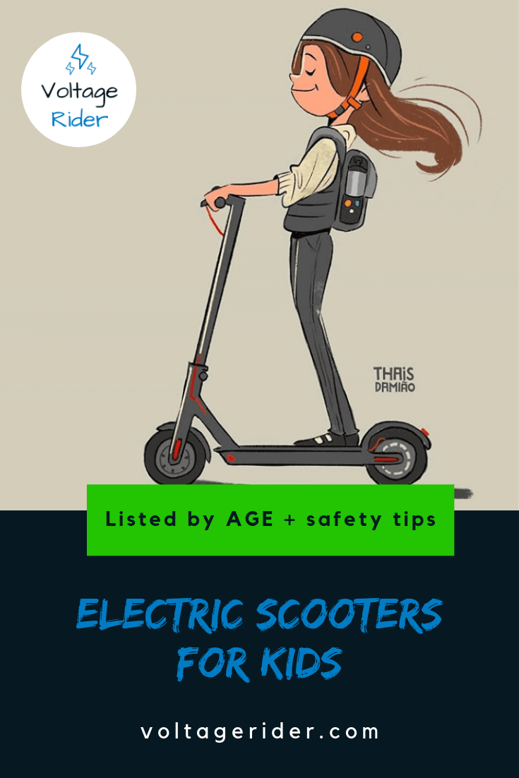 A drawing of girl on electric scooter for kids