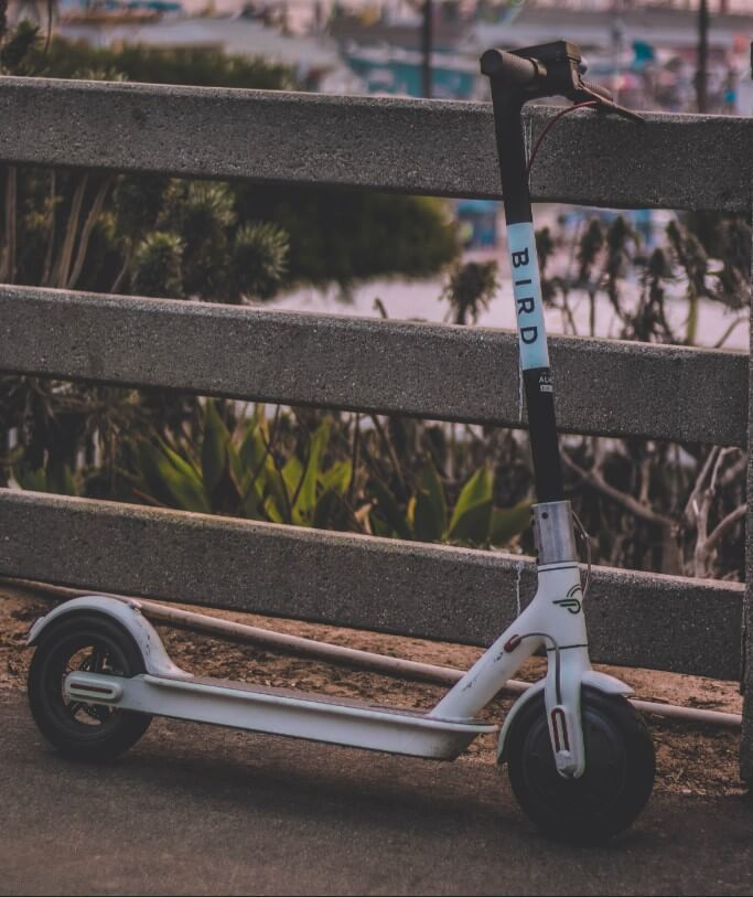 Bird electric scooter parked near gate.