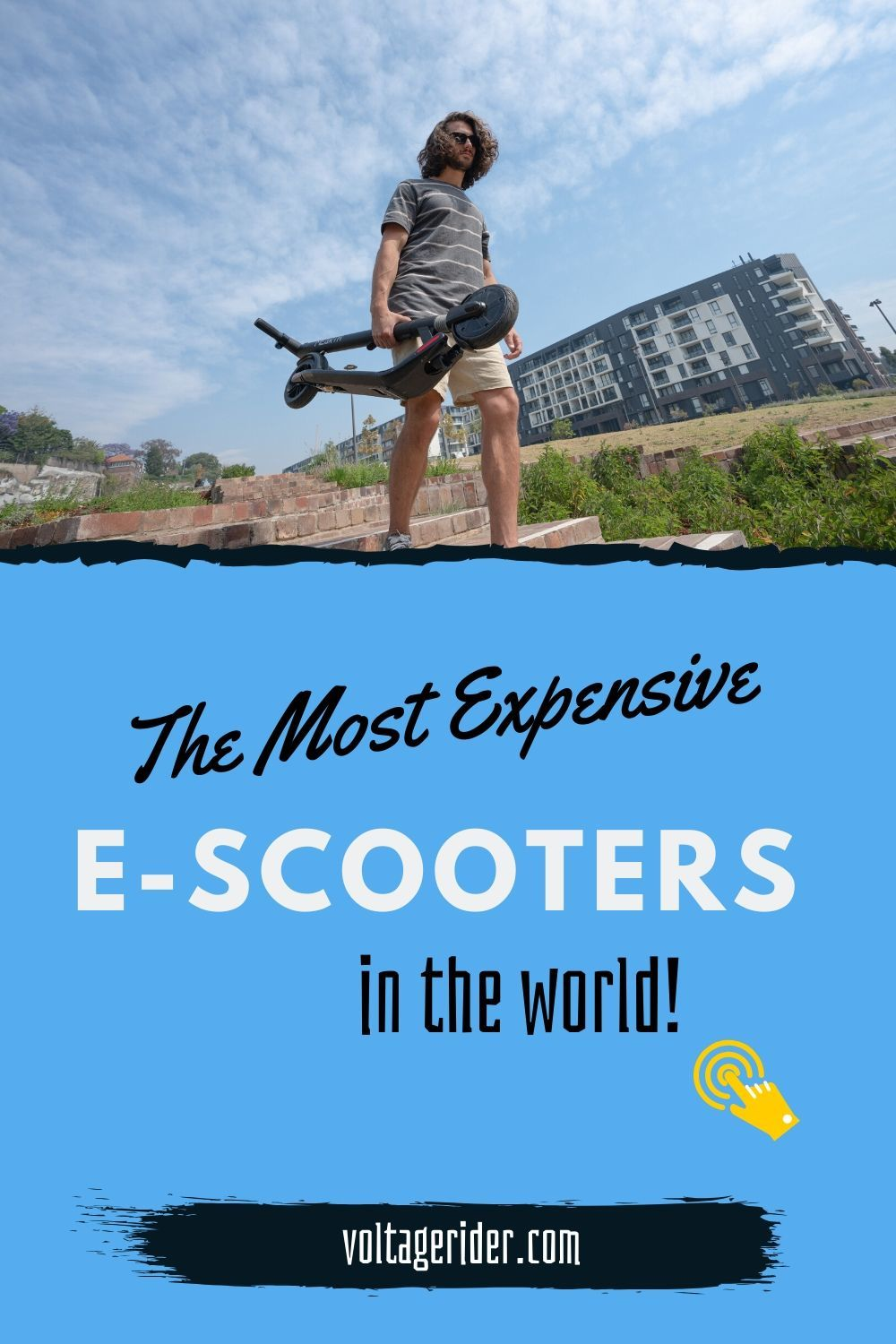 There is a man with electric scooter in his hands.