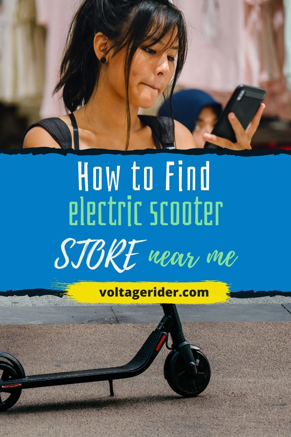 there is a girl on smartphone looking for electric scooter