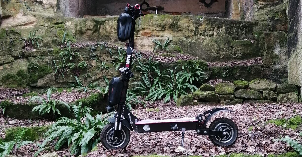 A nanrobot one of the most expensive electric scooters parked off road
