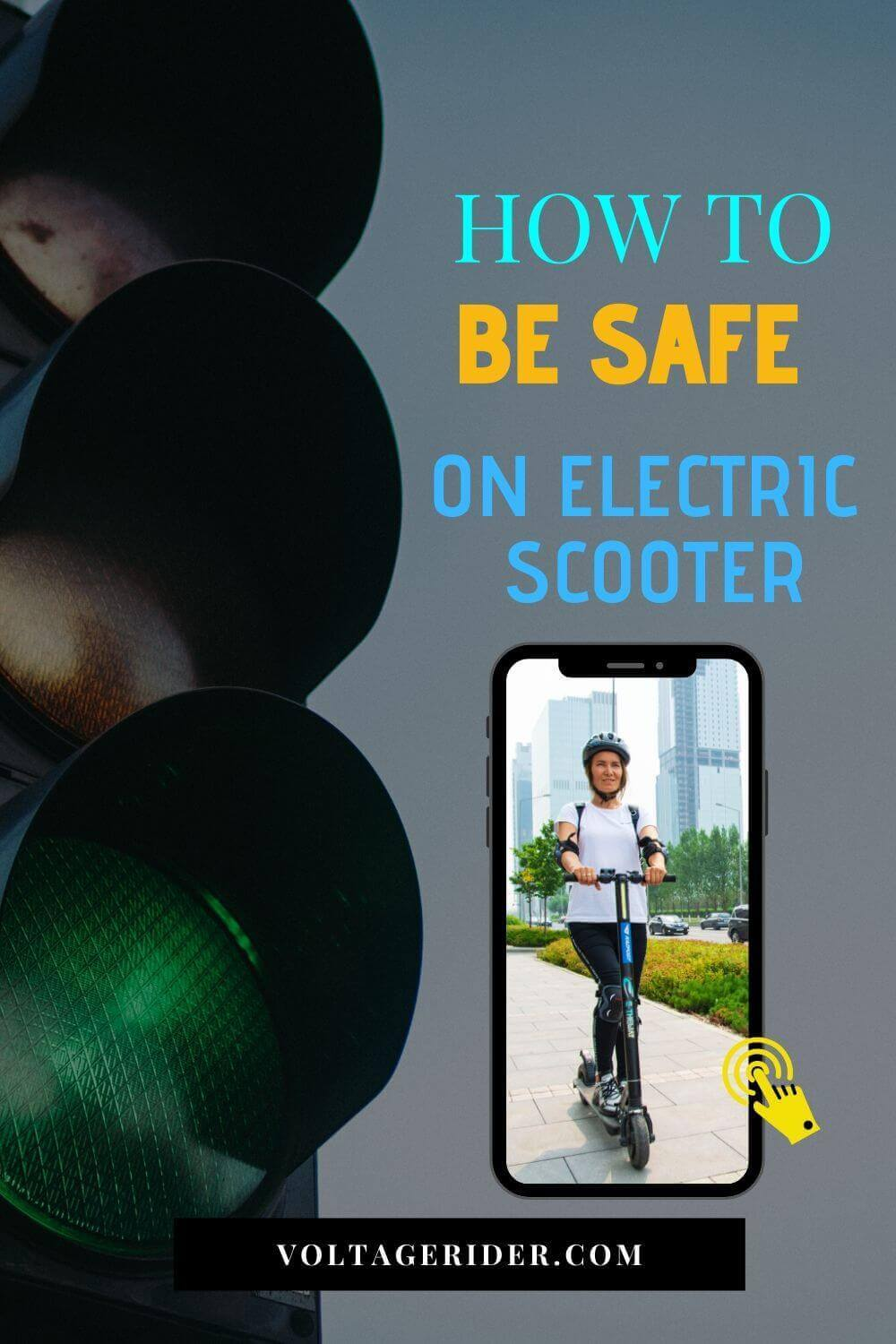 Pin about how to be safe on electric scooter from Voltage Rider pinterest account