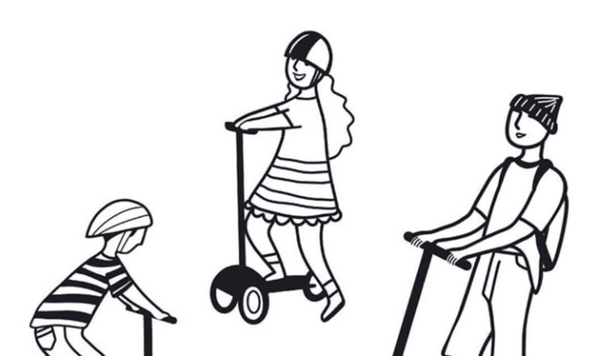 Drawing of kids are having fun on best electric scooters