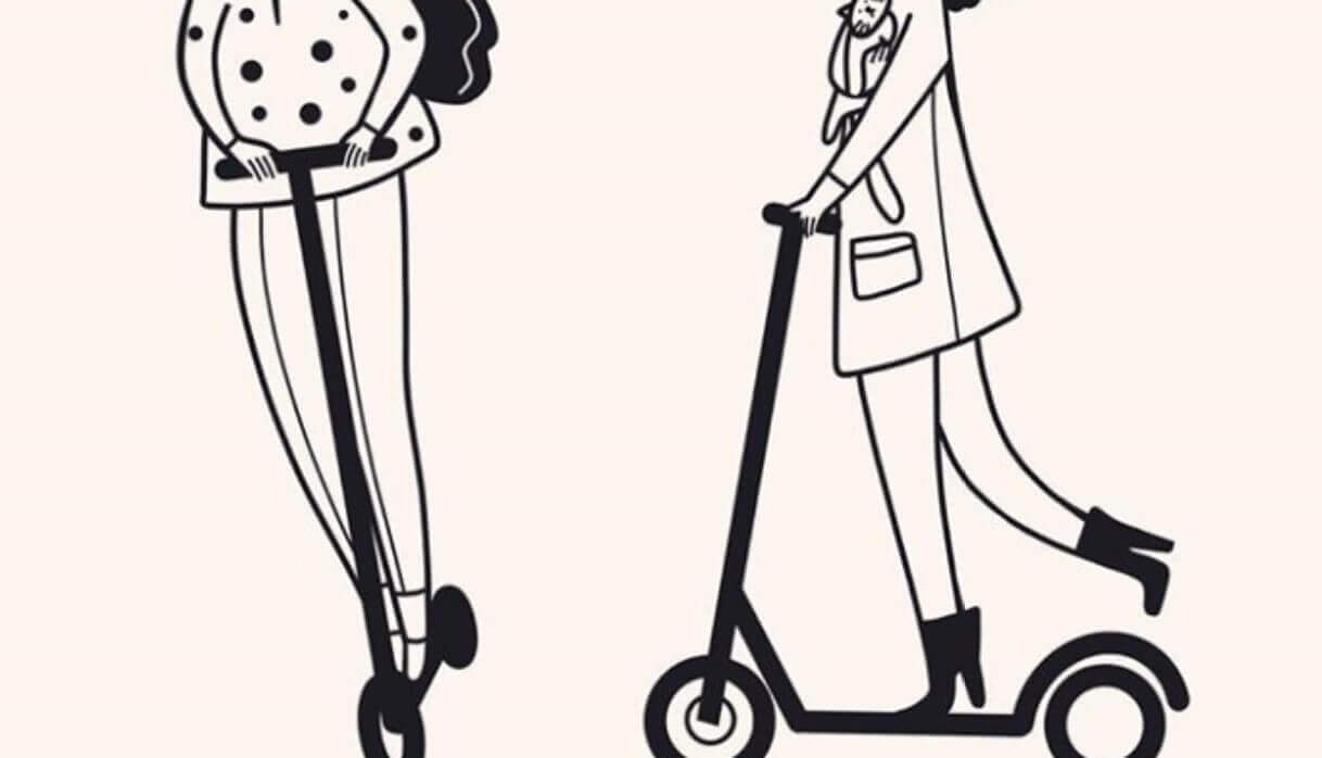 Drawing - people are riding best electric scooters