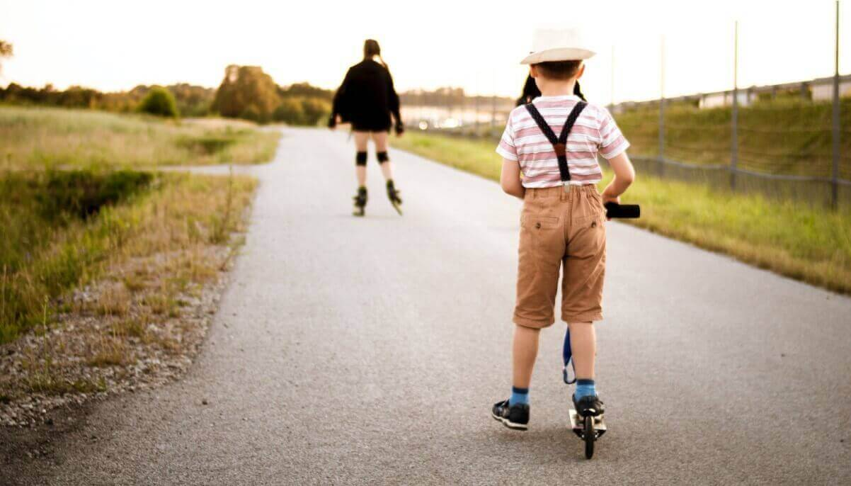 A child is riding best razor scooter