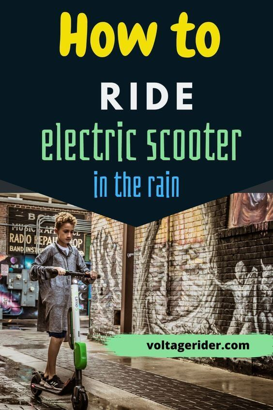 Riding electric scooter in rain