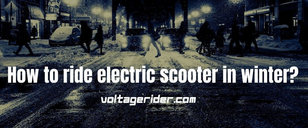 Riding electric scooter in winter