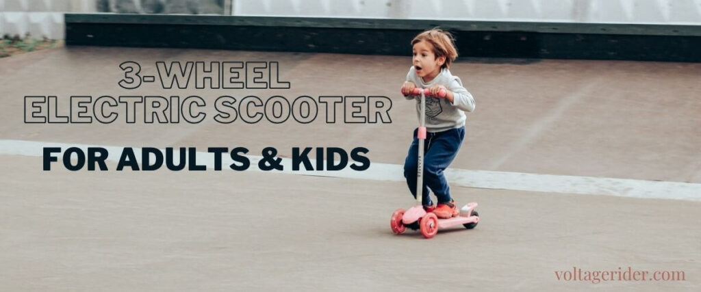 Child on 3 wheeled electric scooter