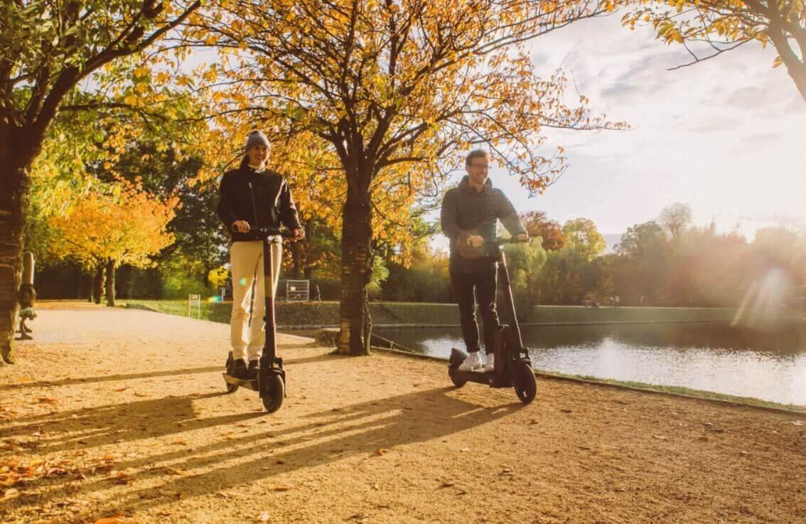 Riding escooter around the city