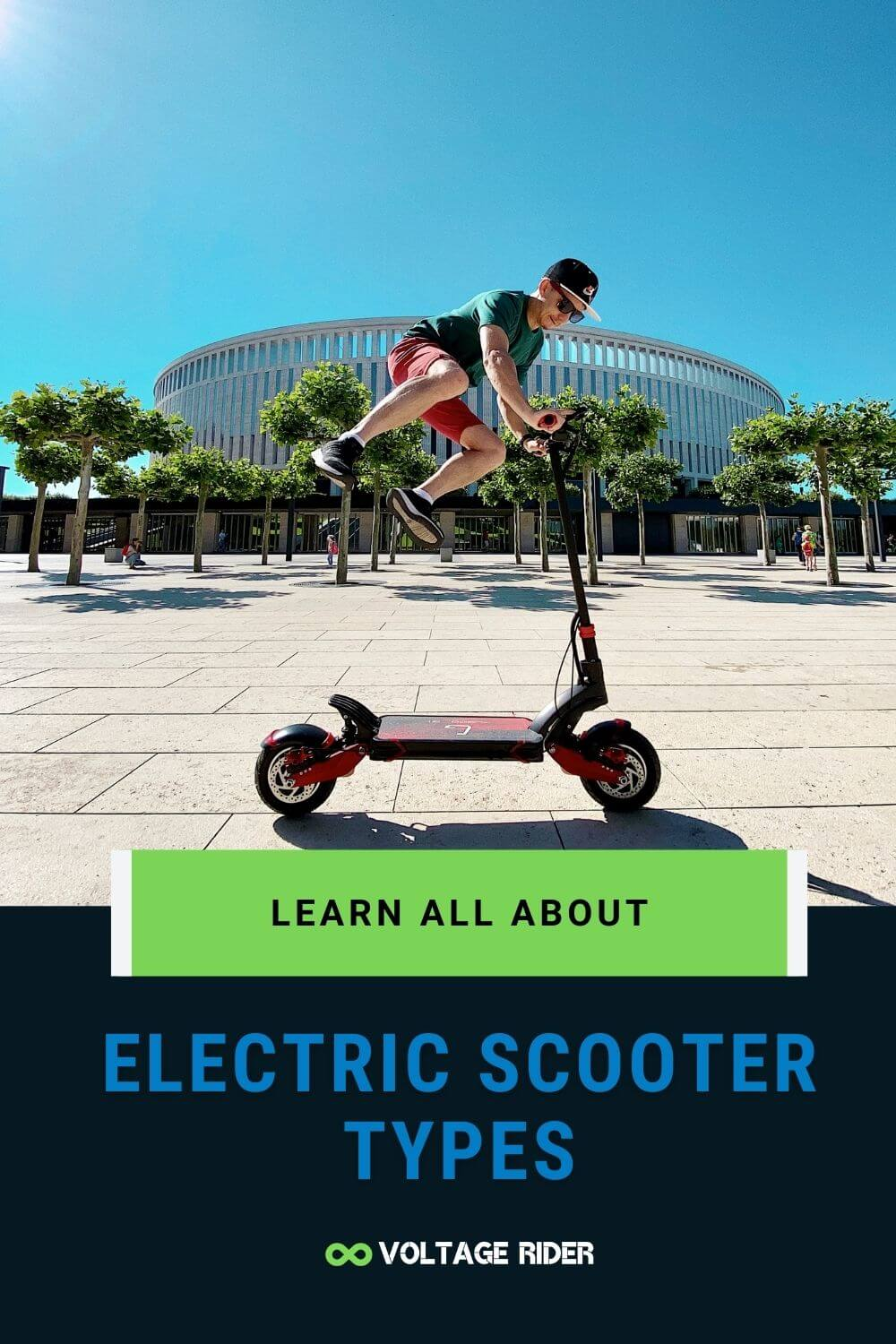 A man is riding electric kick scooter type